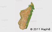 Satellite 3D Map of Madagascar, cropped outside