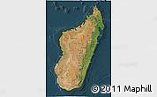Satellite 3D Map of Madagascar, darken