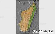 Satellite 3D Map of Madagascar, desaturated