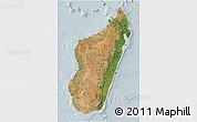 Satellite 3D Map of Madagascar, lighten