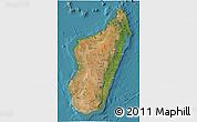 Satellite 3D Map of Madagascar, physical outside, satellite sea
