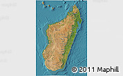 Satellite 3D Map of Madagascar, political shades outside, satellite sea