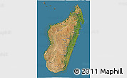 Satellite 3D Map of Madagascar, semi-desaturated, land only