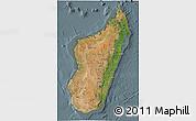 Satellite 3D Map of Madagascar, semi-desaturated