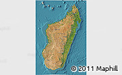 Satellite 3D Map of Madagascar, shaded relief outside, satellite sea