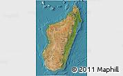 Satellite 3D Map of Madagascar, single color outside