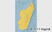 Savanna Style 3D Map of Madagascar, single color outside