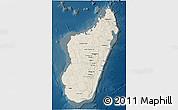 Shaded Relief 3D Map of Madagascar, darken