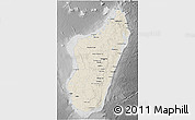 Shaded Relief 3D Map of Madagascar, desaturated