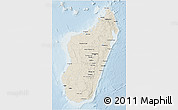 Shaded Relief 3D Map of Madagascar, lighten