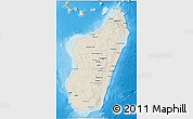Shaded Relief 3D Map of Madagascar, political shades outside, shaded relief sea