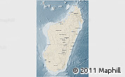 Shaded Relief 3D Map of Madagascar, semi-desaturated