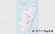 Silver Style 3D Map of Madagascar, single color outside