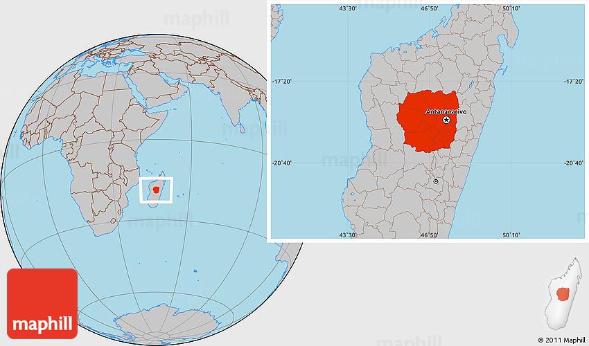 Gray Location Map of Antananarivo on sherbro island map, mbabane map, monrovia map, niamey map, cairo map, asmara map, kampala map, malabo map, masoala national park map, lilongwe map, pretoria map, casablanca map, harare map, kinshasa map, bujumbura map, maseru map, lagos map, dar es salaam map, johannesburg map, al hasakah map,