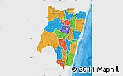 Political Map of Fianarantsoa, single color outside
