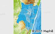 Political Shades Map of Fianarantsoa, physical outside