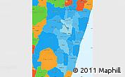 Political Shades Simple Map of Fianarantsoa, political outside