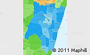 Political Shades Simple Map of Fianarantsoa