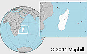 Blank Location Map of Madagascar, gray outside