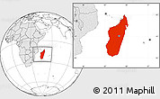 Blank Location Map of Madagascar, highlighted continent