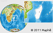Blank Location Map of Madagascar, physical outside