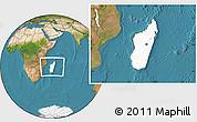 Blank Location Map of Madagascar, satellite outside