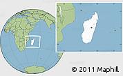 Blank Location Map of Madagascar, savanna style outside