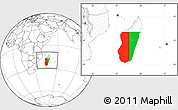 Flag Location Map of Madagascar, blank outside