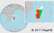 Flag Location Map of Madagascar, gray outside