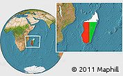 Flag Location Map of Madagascar, satellite outside