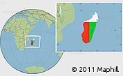 Flag Location Map of Madagascar, savanna style outside
