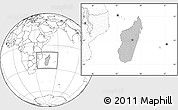 Gray Location Map of Madagascar, blank outside
