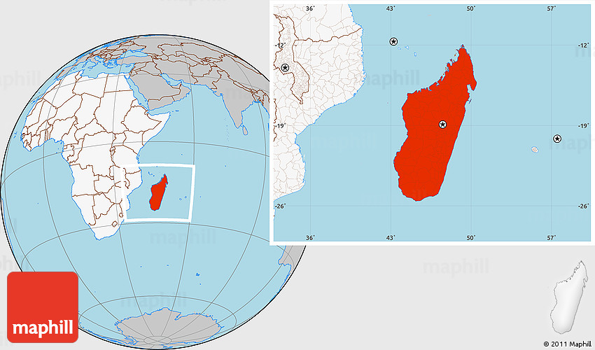 Gray Location Map of Madagascar highlighted continent