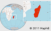 Gray Location Map of Madagascar, highlighted continent
