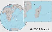 Gray Location Map of Madagascar, hill shading inside