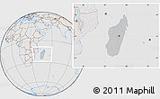 Gray Location Map of Madagascar, lighten, desaturated