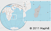 Gray Location Map of Madagascar, lighten, land only