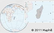 Gray Location Map of Madagascar, lighten
