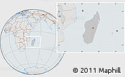 Gray Location Map of Madagascar, lighten, semi-desaturated
