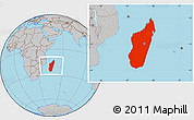 Gray Location Map of Madagascar