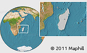 Gray Location Map of Madagascar, satellite outside