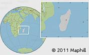 Gray Location Map of Madagascar, savanna style outside