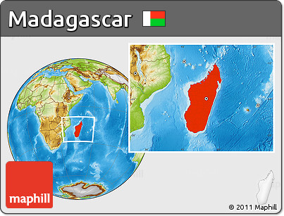 Physical Location Map of Madagascar