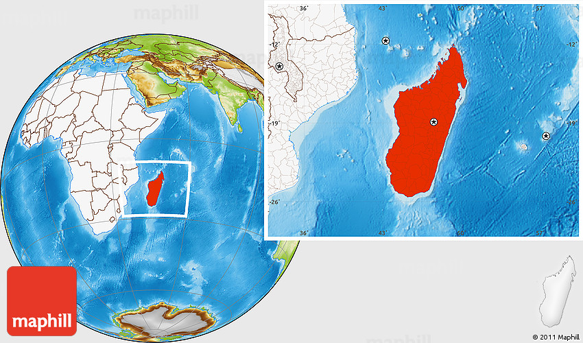 Physical Location Map Of Madagascar Highlighted Continent