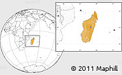 Political Location Map of Madagascar, blank outside