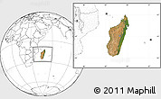 Satellite Location Map of Madagascar, blank outside