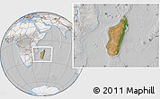 Satellite Location Map of Madagascar, lighten, desaturated