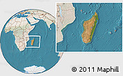 Satellite Location Map of Madagascar, lighten, land only