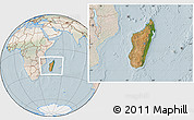 Satellite Location Map of Madagascar, lighten