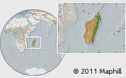 Satellite Location Map of Madagascar, lighten, semi-desaturated